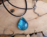 blue glass pendant dichroic painted glass jewelry fused glass jewelry sets sea blue colours