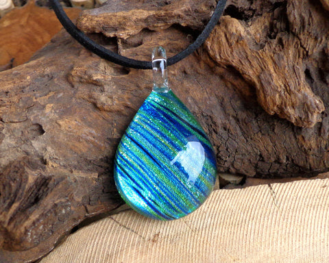 turquoise tide glass pendant aquamarine painted fused glass jewelry sparkly glass pendant