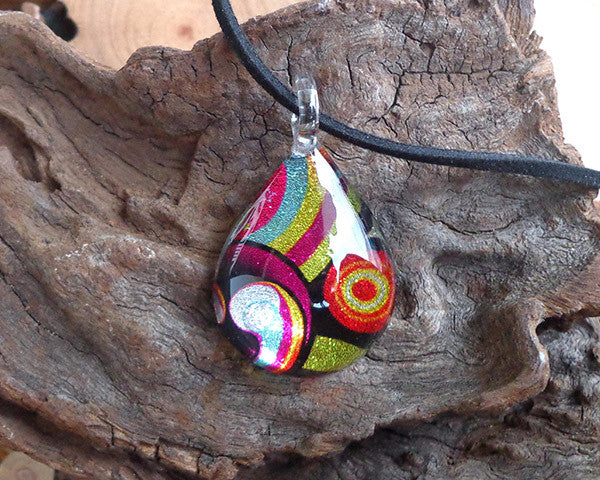 seventies design colourful glass pendant sparkly glass jewelry geometric design fused glass necklace