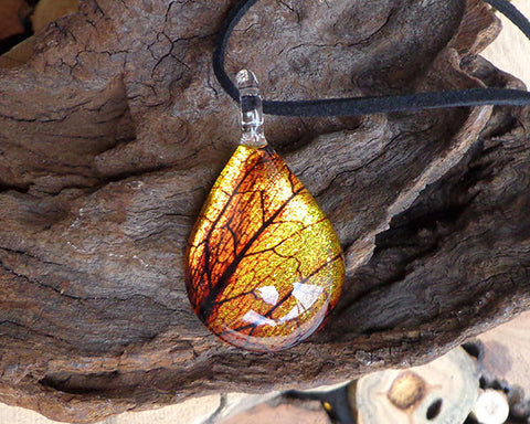 golden leaf design teardrop glass pendant amber necklace fused glass jewelry