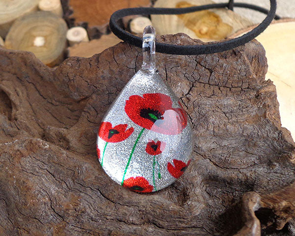 poppy flower pendant fused glass jewelry red poppy flower necklace
