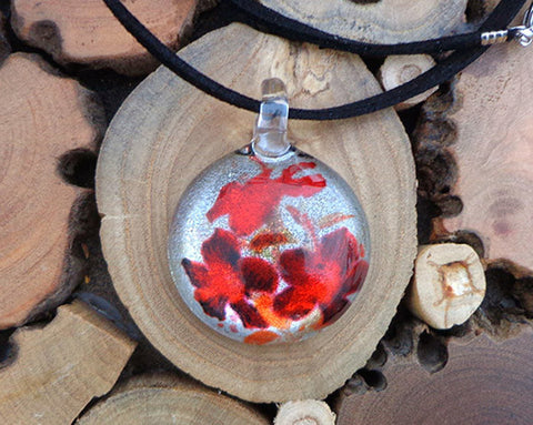 red blossom floral pendant fused glass necklace flower pendant