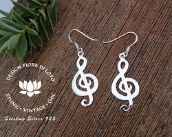 trble cleff silver earrings