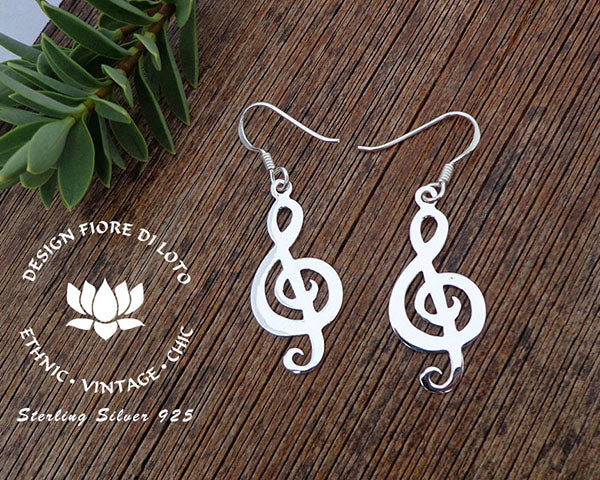 treble cleff silver earrings musical earrings musical jewelry treble cleff jewellery