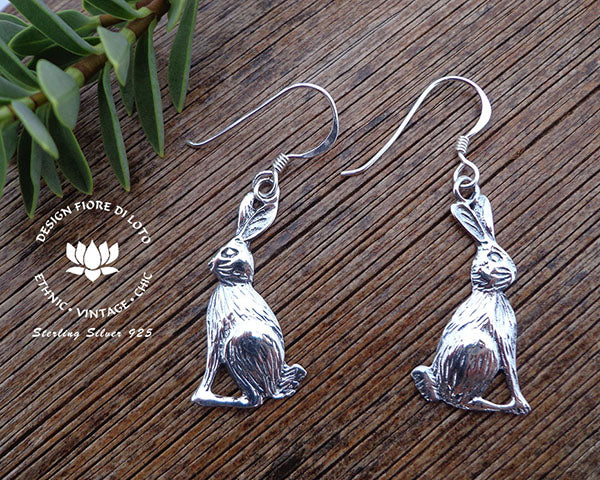 wild hare earrings, 925 silver bunny rabbit earrings animal earrings