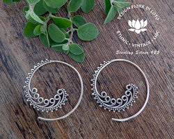 tribal spiral earrings in sterling silver