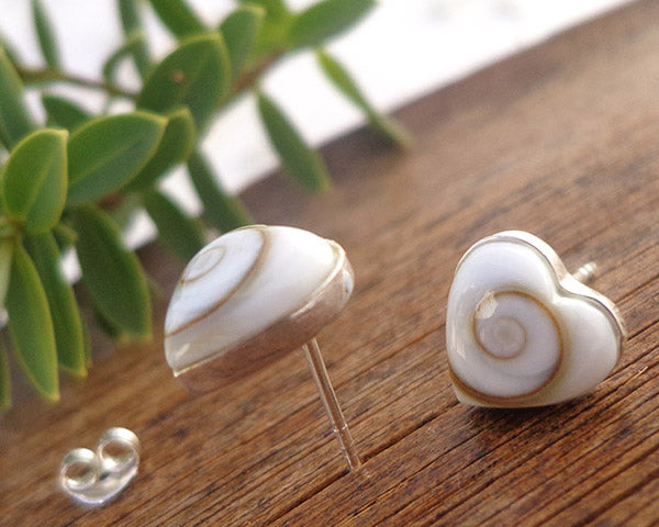 sterling silver heart studs, romantic jewelry, silver stud earrings, post earrings, heart shaped studs, operculum shell jewelry