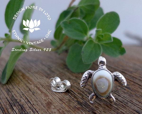 sterling silver sea turtle studs, terrapin studs, operculum shell studs, silver stud earrings
