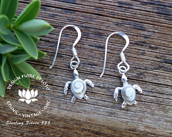 sterling silver sea turtle earrings, sea turtle earrings, dangle earrings, operculum seashell jewelry