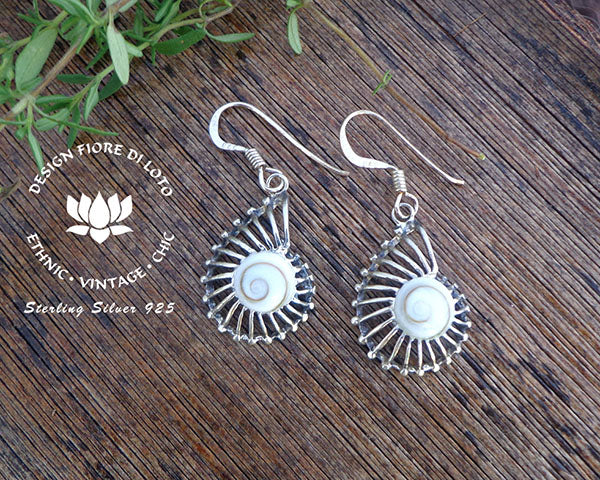 sterling silver ammonite fossil earrings, operculum seashell earrings, dangle earrings, drop earrings, silver jewelry