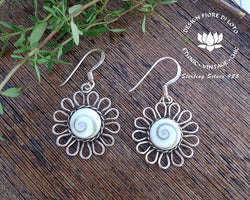 sterling silver sunflower earrings, floral earrings, dangle earrings, drop earrings, white shell earrings
