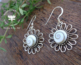 shiva eye set on sunflower jewellery, 925 silver hooks, pacific cat eye earrings, seashell jewelry