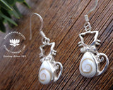925 silver and shiva eye shell jewelry, pacific cat eye earrings, seashell jewelry