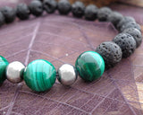 spiritual men's collection, gemstone bracelet, malachite, lava rock