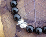 animal lover's charm bracelet, black onyx, moss agate, owl charm and bead