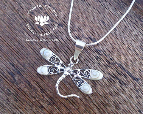 sterling silver dragonfly pendant, insect lovers jewellery, operculum seashell pendant