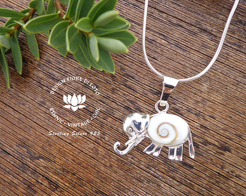Silver shell elephant pendant ps214 design fiore di loto sterling silver elephant pendant animal lovers pachiderm jewelry operculum seashell pendant aloadofball Image collections