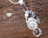 shiva eye shell aquatic jewellery, scuba lovers, 925 silver pendants, operculum pendant, silver and shell jewelry