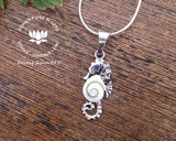 sea horse sterling silver pendant, marine life lovers jewelry, pacific cat eye necklace, white seashell animal jewelry