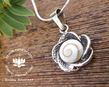 shiva eye shell flower jewellery, rose 925 silver pendant