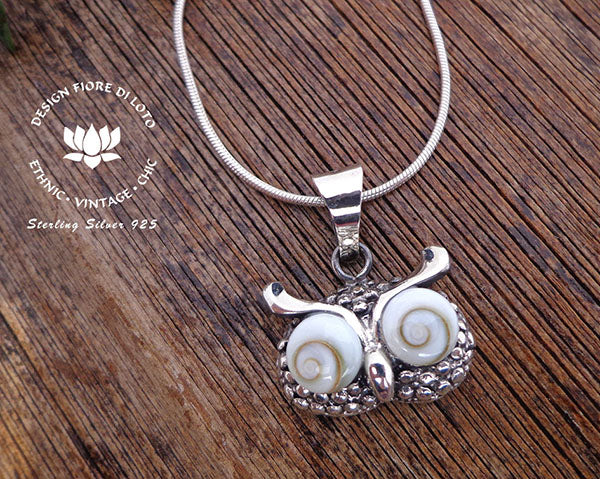 sterling silver owl pendant, owl lover jewelry, bird watcher pendant, animal jewelry, novelty pendant, owl face pendant and seashell