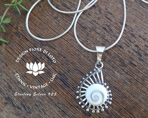 sterling silver ammonite pendant, marine lovers, shell jewelry, sea life jewelry, silver pendants, operculum shell necklace