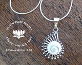 shiva eye shell ammonite pendant necklace, 925 silver