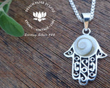 hamsa hand shiva eye shell pendant, 925 silver mount, pacific cat eye necklace, hand of fatima jewelry