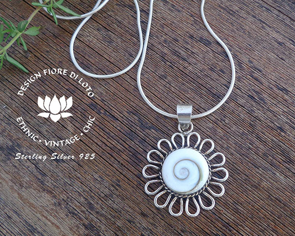 sterling silver and shiva eye pendant, sunflower design, operculum seashell pendant