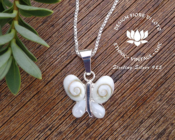 sterling silver butterfly pendant, shiva eye shell, mother of pearl
