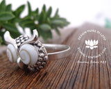 sterling silver adjustable ring with seashell operculum seashell jewelry