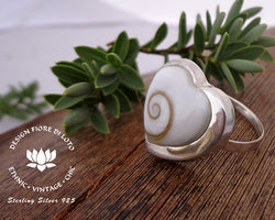 romantic heart ring, adjustable size, sterling silver and seashell operculum seashell ring
