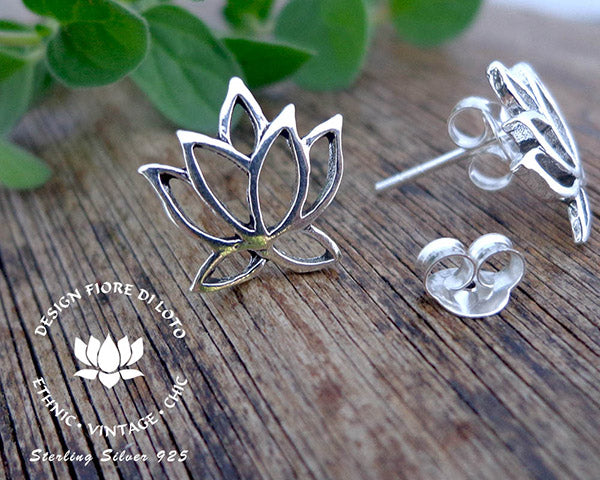 lotus flower studs in sterling silver