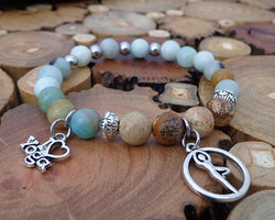 Amazonite and picture jasper bracelet