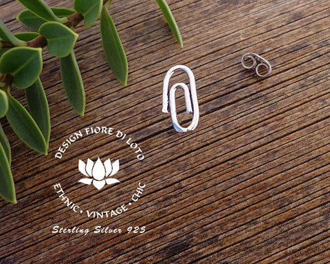 sterling silver paper clip studs stationary jewelry novelty studs fun earrings silver post earrings
