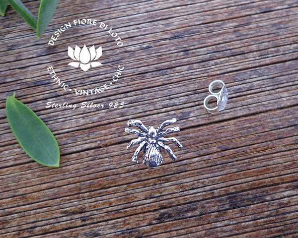 sterling silver spider studs novelty studs silver post earrings