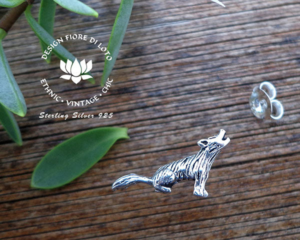 howling wolf silver studs