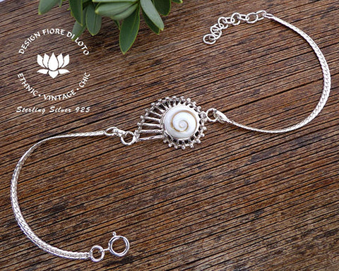 ammonite shell bracelet white shiva eye shell bracelet operculum shell  jewelry