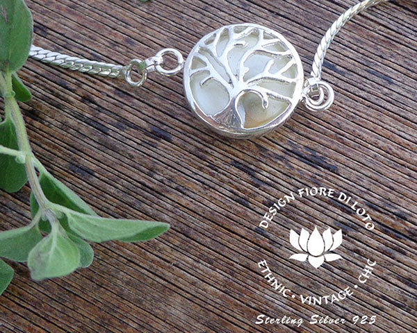 tree of life bracelet in silver and seashell