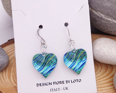 heart earrings,  fused glass earrings, dichroic jewelry