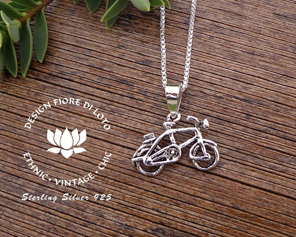 sterling silver bicycle pendant, bike lovers