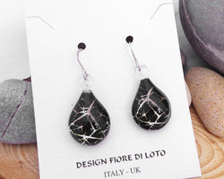 black cracked ice design earrings silver glitter glass earrings fused glass earrings dangle earrings