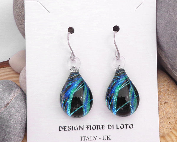 sea blue teardrop earrings glass earrings fused glass jewelry