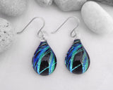 seaweed design lamp work glass earrings drop earrings silver hooks