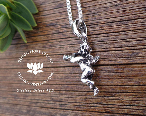 sterling silver cupid pendant, 925 angel charm