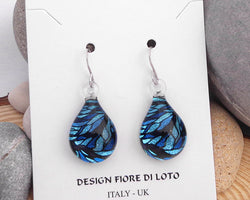blue dangle earrings teardrop glass earrings blue mosaic design jewelry