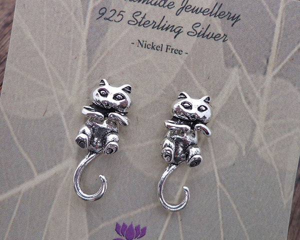 silver cat stud earrings, unique 3D cat jewelry
