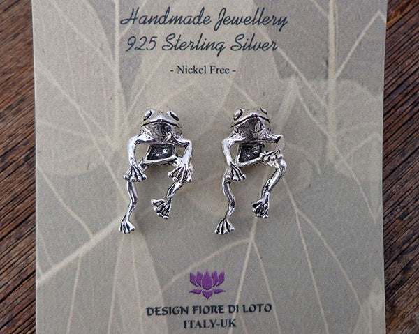 double 3D frog studs in sterling silver