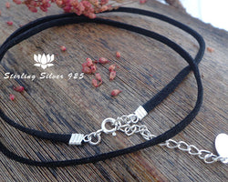 faux suede black cord, 925 sterling silver findings