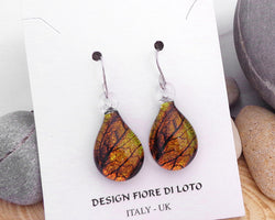 golden leaf design teardrop glass earrings amber coloured earrings fused glass jewelry